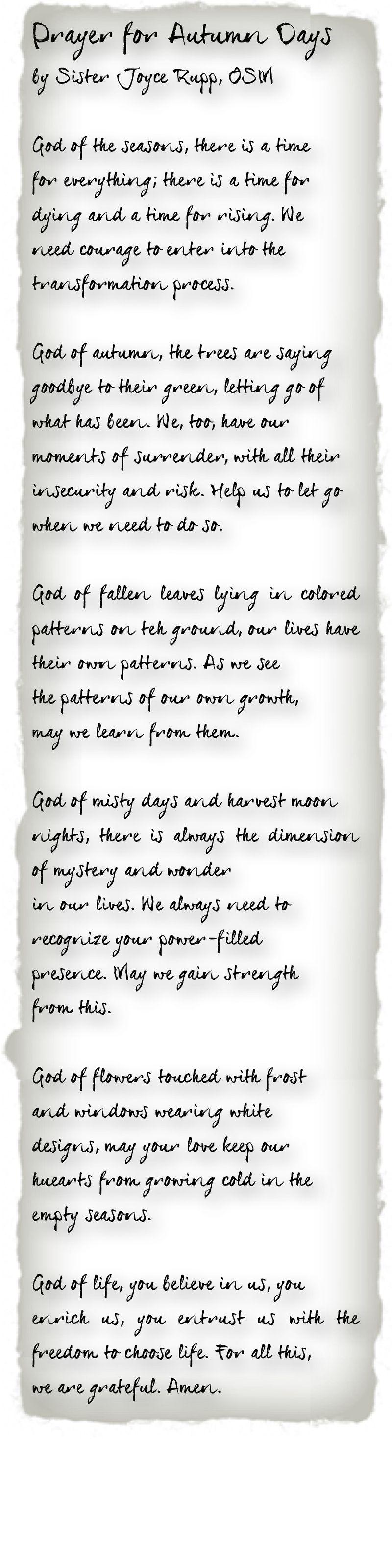 Blog prayer for autumn days
